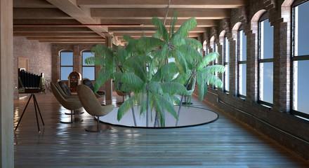 Interno con piante tropicali