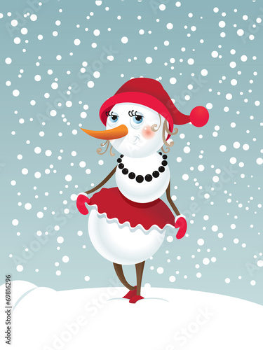 canvas print picture Christmas snowman-girl