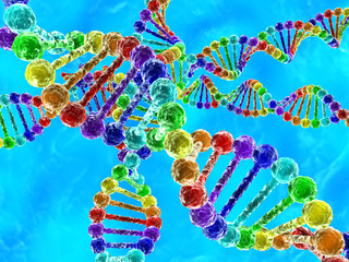 Rainbow DNA (deoxyribonucleic acid) on blue background