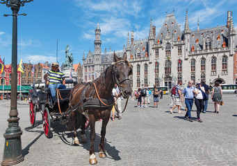 Bruges - The Carriage on the Grote Markt square