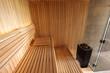 Wnętrze sauny fińskiej, piec.