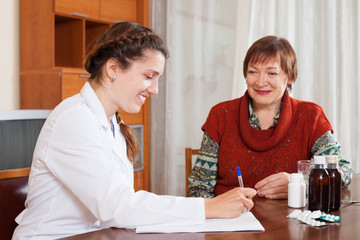female doctor of prescribing to mature patient the medication