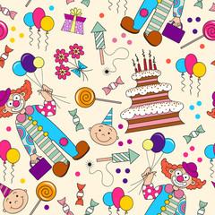 Vector pattern with symbols of the birthday