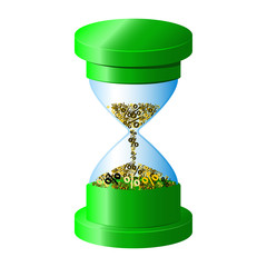 Hourglass, green color, percents deposit