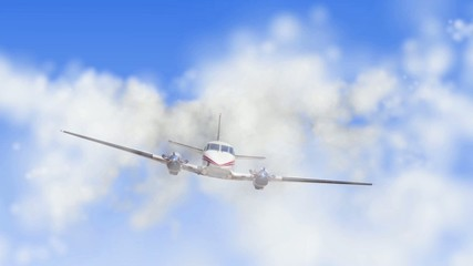 animation of propelier airplane flying through the clouds