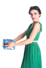 Attractive woman with gift box
