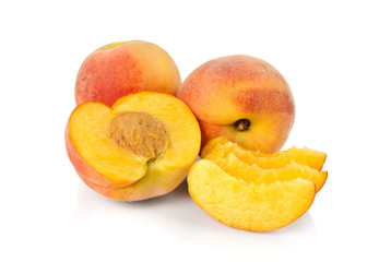 Peaches on a white background