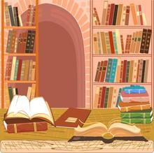 Innenansicht der Bibliothek mit einem offenen Buch