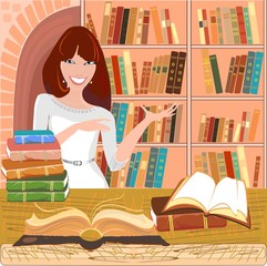 Librarian with an open book on background bookshelf