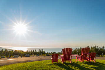 Red chairs from Butland lookoff  with a beautiful view of Fundy