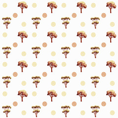 Autumn pattern set with cute subtle trees.