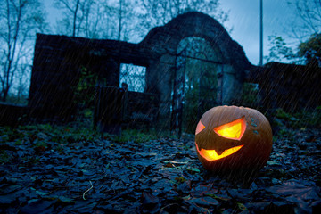 Halloween pumpkin with ancient gate