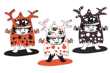 Cartoon cute monsters set.