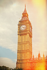Big Ben in Westminster, London. Retro filter effect