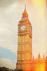 Big Ben in Westminster, London. Retro filter effect