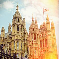 Houses of Parliament in London. Retro filter effect