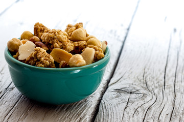 Cereal with almonds and peanuts