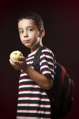 Preschooler and apple