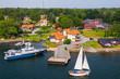 canvas print picture - Segelboot am Wasser
