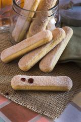 Cookies Ladyfingers, Savoiardi, sponge cakes