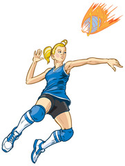 Jumping Volleyball Player Girl Vector Illustration