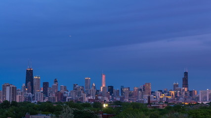 City of Chicago Downtown Skyline Sunset