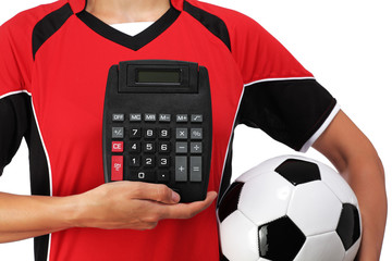 female bust in Football Uniform holding a calculator