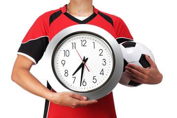 female bust in Football Uniform holding a clock