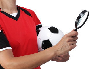 female bust in Football Uniform holding a magnifying glass