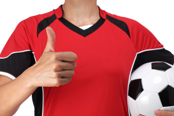 bust of a woman dressed in soccer doing okay sign