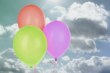 Color balloons on blue sky