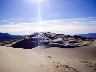 Sun Rays on Kelsoo Dunes desert of California