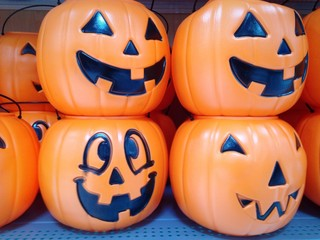 Halloween pumpkins for sale at store.