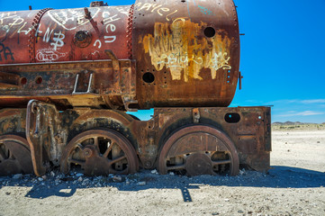 Rusted Train Cemetery in Uyuni, Bolivia
