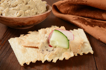 flatbread crackers and hummus