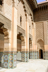 The Ben Youssef Madrasa past an Islamic college in Marrakesh.