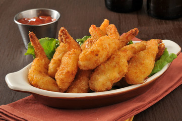 Breaded deep fried shrimp