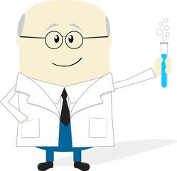scientist cartoon on white background