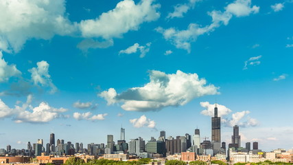 Chicago Skyline City Time Lapse with Clouds Dynamic