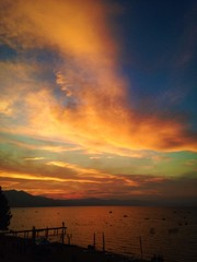 Beautiful sunset over Lake Tahoe.