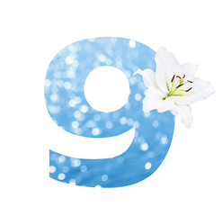 Number 9 made from Abstract circular bokeh background of Light s