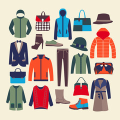 vector fashion clothes and accessorie-illustration