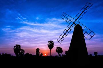 Windmill on twilight time