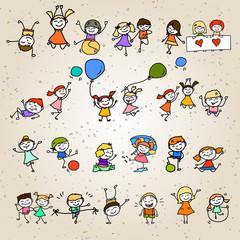 hand drawing cartoon character happy kids