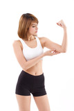 strong, fit, firm woman checking her arm muscle strength poster