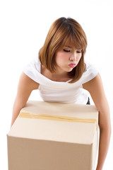 tiring, upset woman carrying heavy box with negative emotion
