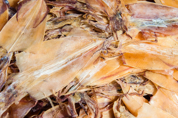 Close up on dried squid in the sun