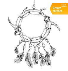 American Indian dream catcher with feathers