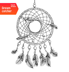 Native american dream catcher with feathers