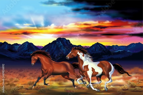 Wild Horses Run Illustration Poster